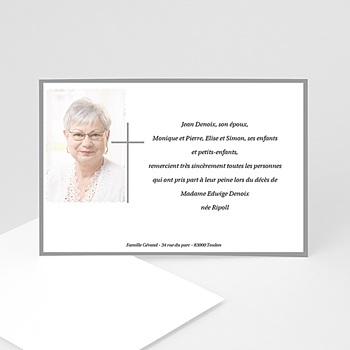 Remerciements Décès Chrétien - Croix classique - carte remerciements décès - 3