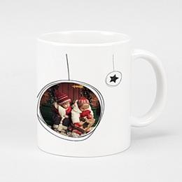 Mug Personnalisé - Boules Noël & Etoiles - 0