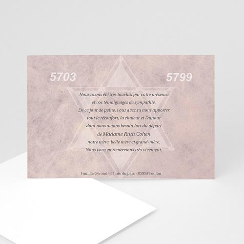 Remerciements Décès Juif - Rose lumière 5121