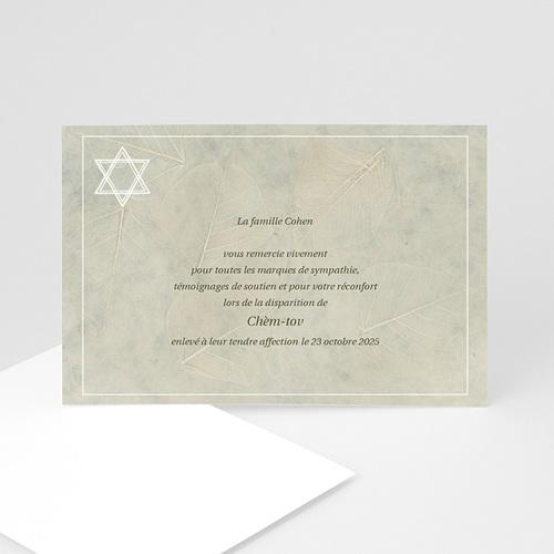Remerciements Décès Juif - Bouclier de David gris 5133