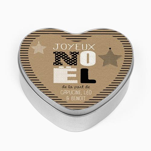 Boîte en métal personnalisée - Coeur en Kraft 51338