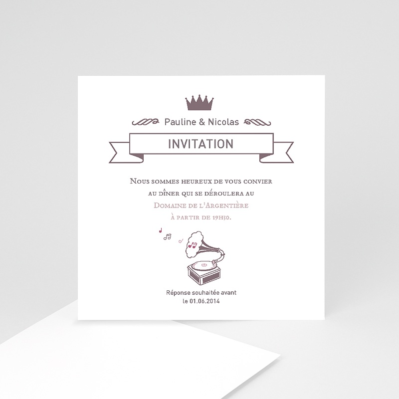 carte invitation mariage douce musique. Black Bedroom Furniture Sets. Home Design Ideas