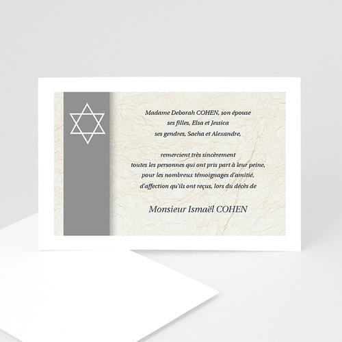Remerciements Décès Juif - Magen David gris  5257