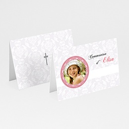 Marque-Place Communion - Profession de foi - Rose - 3