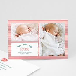 Remerciements Baptême Fille - Marinière rose - 3