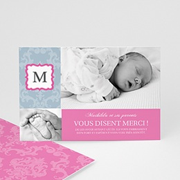 Remerciements Naissance Fille - Monogramme Fille - 3