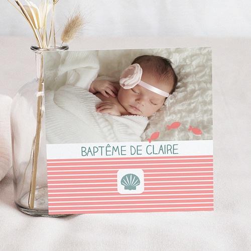 Faire-part Baptême Fille - Marinière rose 581