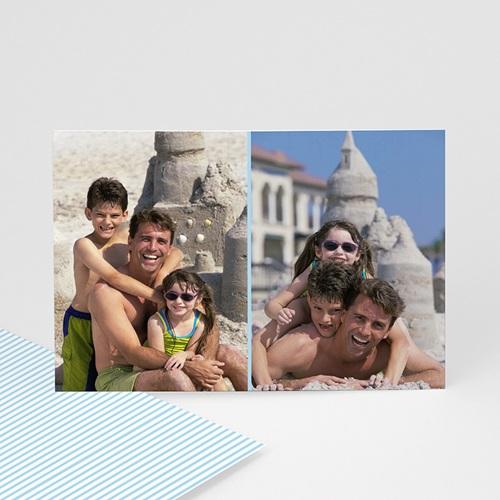 Cartes Multi-Photos 2 photos - Double Cadre - liseré bleu 6403