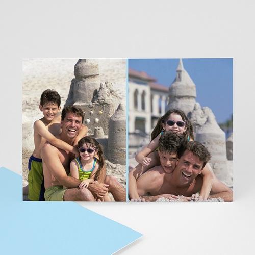 Cartes Multi-Photos 2 photos - Deux Photos - Rayures Bleues 6407