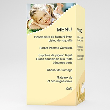 Menu de Communion - Communion  illustrée - jaune - 3