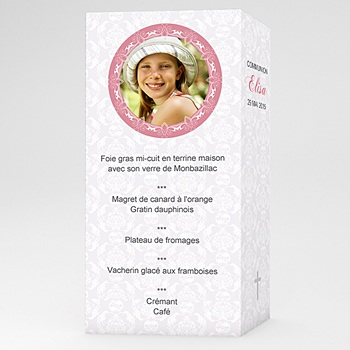 Menu de Communion - Profession de foi - Rose - 3
