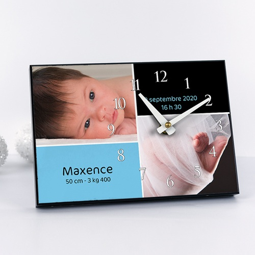 Horloge avec photo - Instant Présent - Bleu 6626