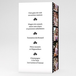Menus Mariage Personnaliss - Mod&egrave;le Cin&eacute;ma - 3