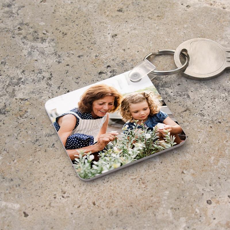 Porte cl s personnalis recto verso carr - Porte clef personnalise photo recto verso ...