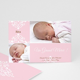 Remerciements Naissance Fille - Design Royal - rose - 3