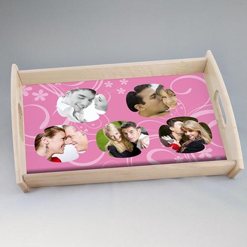 Plateaux personnalisés avec photos - Tapis de fleurs roses 6860