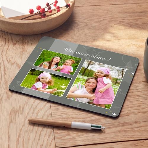 Tapis de souris personnalisé - Photo décorée - gris 6902