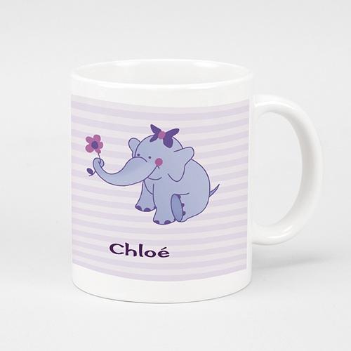 Mug Personnalisé - L'éléphanteau à la fleur rose 6976