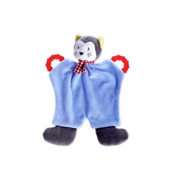 Doudou avec prénom brodé - Sergio le chat -  hochet avec anneaux dentaires - 2