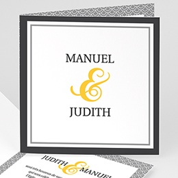 Faire-part Mariage Personnaliss - Mariage Estival - gris et jaune - 3