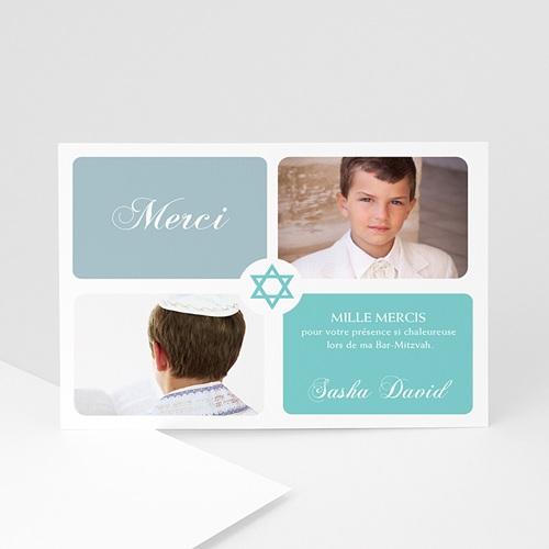 Carte Remerciements Bar-Mitzvah - Mazal Tov bleu ciel 789