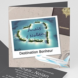 Faire-part Mariage Personnaliss - Invitation au voyage - 3