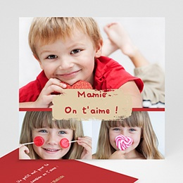 Cartes Multi-photos 3 & + - Trois photos - Bordure rouge - 3