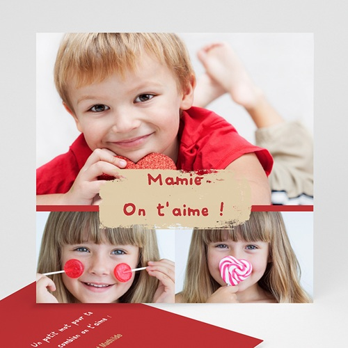Cartes Multi-photos 3 & + - Trio de photos - Bordure rouge 821