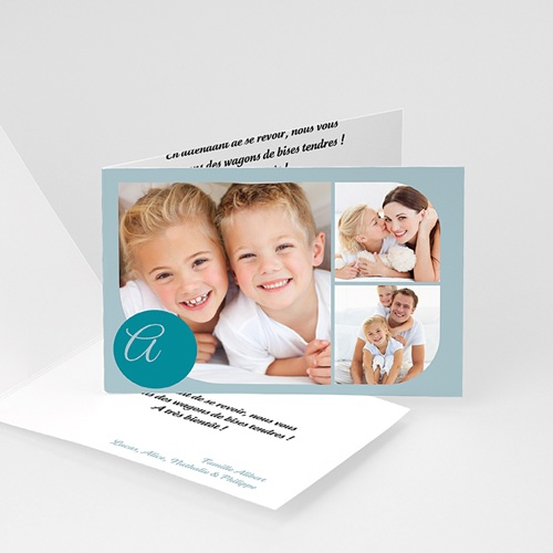 Cartes Multi-photos 3 & + - 3 photos arrondies - bleu azur 825