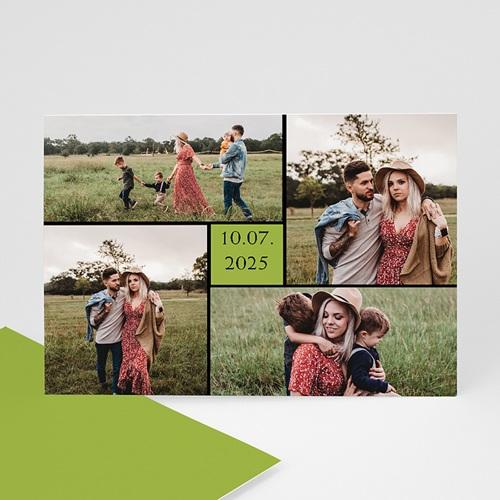 Cartes Multi-photos 3 & + - Bordure noire, carré vert 8252