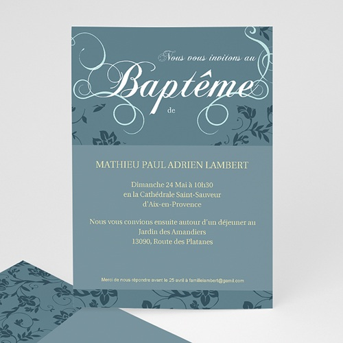 Faire-part Baptême Garçon - Aquae 8260