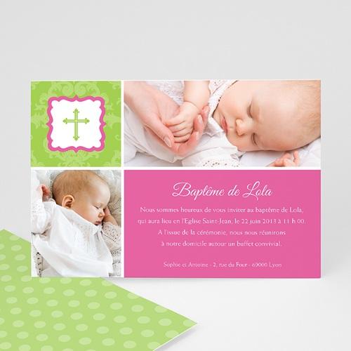 Faire-part Baptême Fille - Rose-Vert 8276