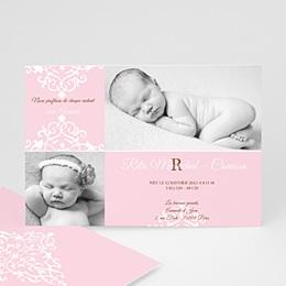 Faire-Part Naissance Fille - Design Royal - Rose 8288