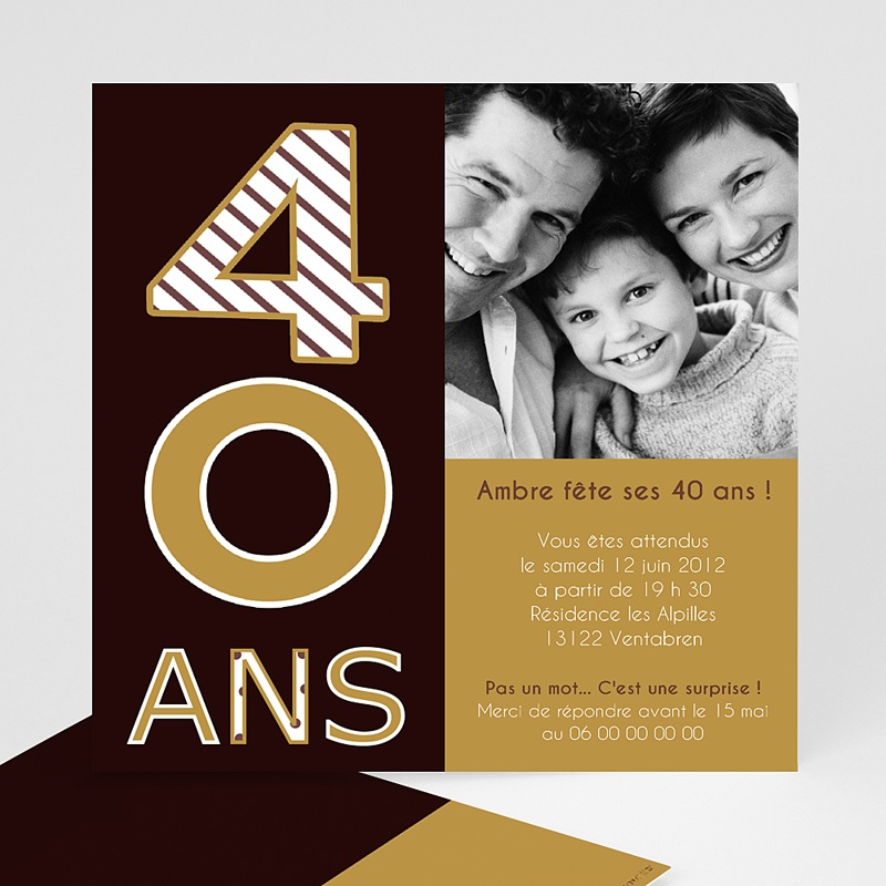 invitation anniversaire 40 ans choco or. Black Bedroom Furniture Sets. Home Design Ideas