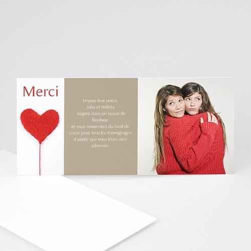 Carte Remerciements Pacs - Merci mon coeur - rouge 841