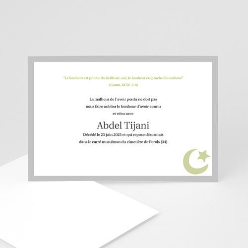 Remerciements Décès Musulman - Dhakkir - Vert 8470