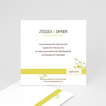 Cartons d'Invitation Personnalisés - Design Marron et Bandeau Jaune - 2