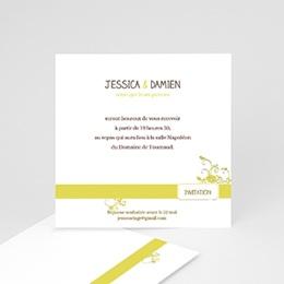 Carton Invitation Personnalisé - Design Marron et Bandeau Jaune - 2