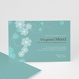 Remerciements Baptme Garon - Bleu - Motif Fleur - 3