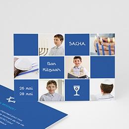 Carte Remerciements Bar-Mitzvah - Bar Mitzvah et ses symboles en bleu - 3