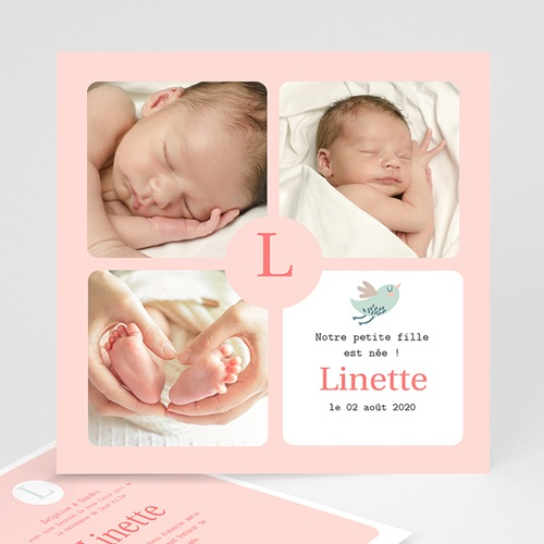 Faire-Part Naissance Fille - Girly 9302