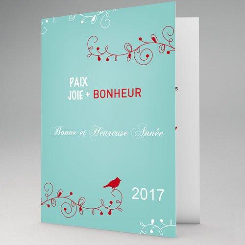 Carte de Voeux 2017 - L'Oiseau Rouge - fond bleu 9449