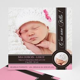 Faire-Part Naissance Fille - Lovely Princess Pink 954