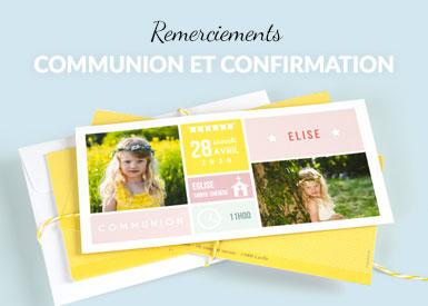 Cartes de remerciements Communion