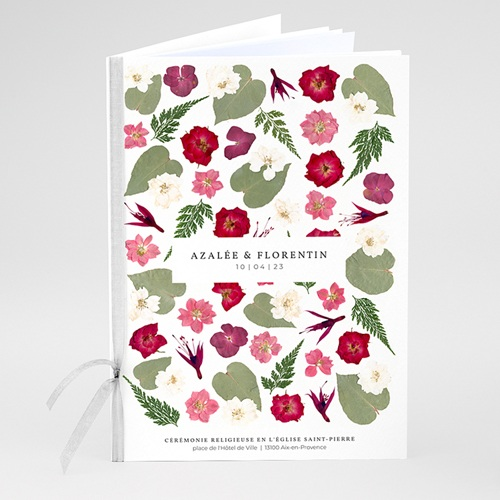 Livret Messe Mariage Herbier Romance, Couverture Florale