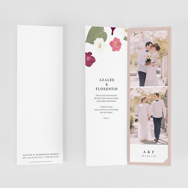 Carte Remerciement Mariage Herbier Romance, 2 en 1 gratuit