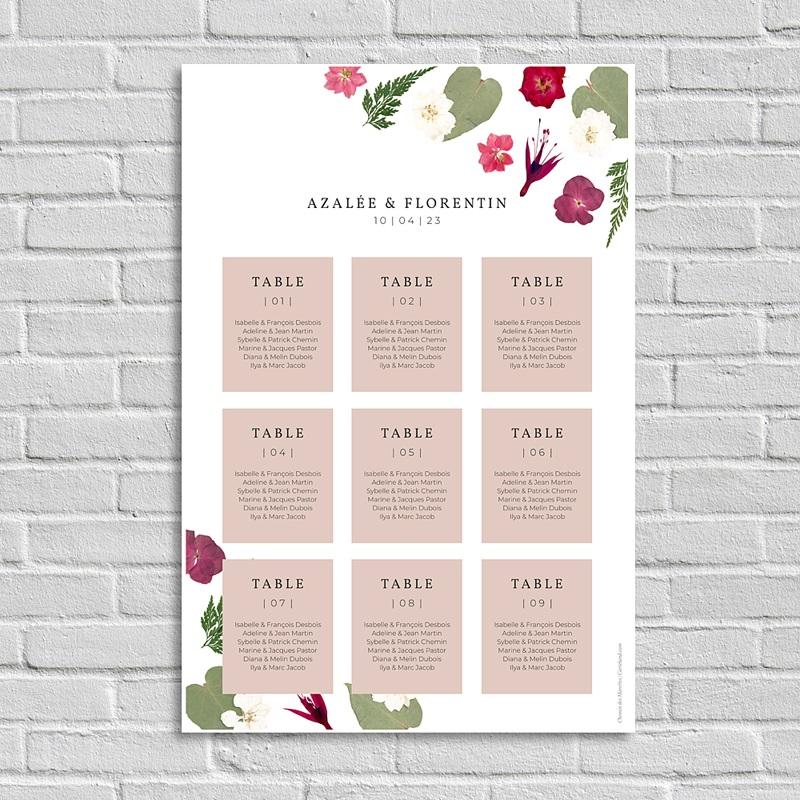 Plan Table Mariage Herbier Romance, liste invités