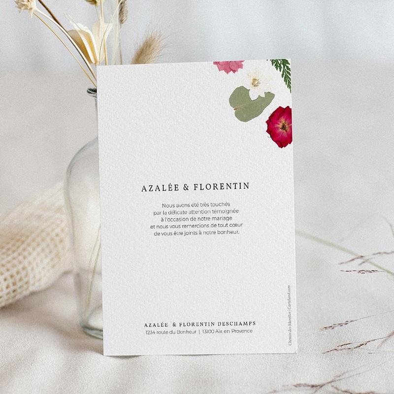 Carte Remerciement Mariage Herbier Romance, 2 portraits pas cher