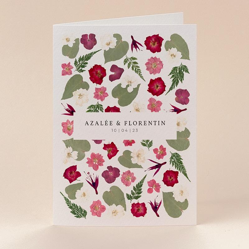 Faire-Part Mariage Herbier Romance, double volet, 12 x 17