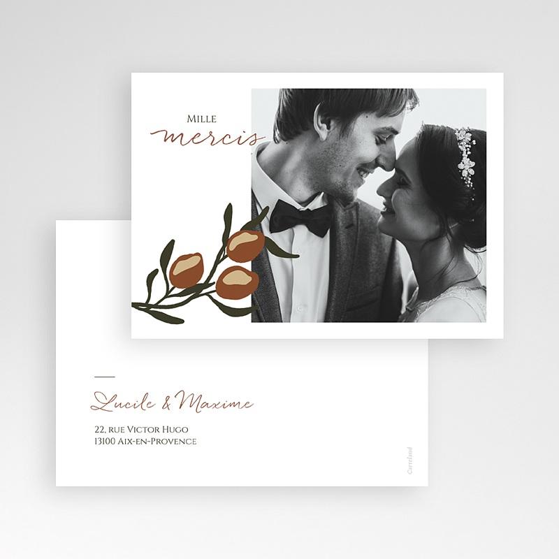 Carte Remerciement Mariage Olives Stylisées, Photo pas cher
